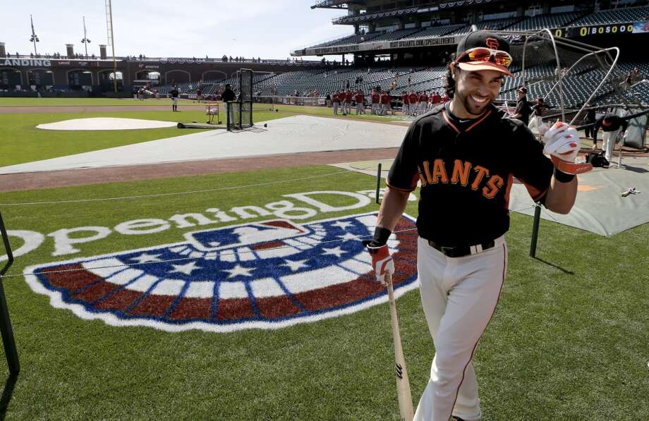 Giants Angel Pagan finishes taking batting practice, as the San Francisco Giants prepare to take on the Arizona Diamondback during their home opener at AT&T Park on Tuesday April 8, 2014, in San Francisco, Calif. Photo: Michael Macor, The Chronicle