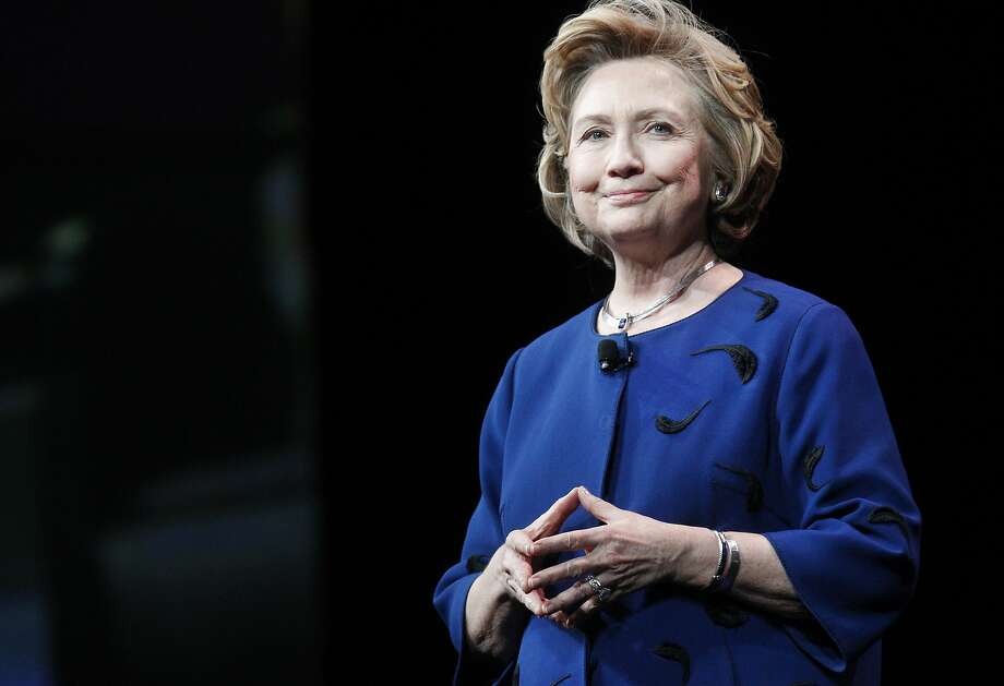 Hillary Rodham Clinton gives the keynote address at the Marketo Marketing Nation Summit  at the Moscone Center, though many attendees were more interested in her political intentions. Photo: Leah Millis, San Francisco Chronicle