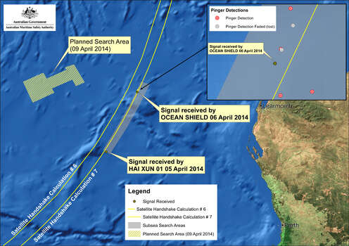 This image provided by the Joint Agency Coordination Centre on Wednesday, April 9, 2014, shows a map indicating the locations of signals detected by vessels looking for signs of the missing Malaysia Airlines Flight 370 in the southern Indian Ocean. An Australian official overseeing the search for the missing Malaysia Airlines plane said underwater sounds picked up by equipment on an Australian navy ship are consistent with transmissions from black box recorders on a plane.  EDITORIAL USE ONLY Photo: Joint Agency Coordination Centre, AP / Joint Agency Coordination Centre