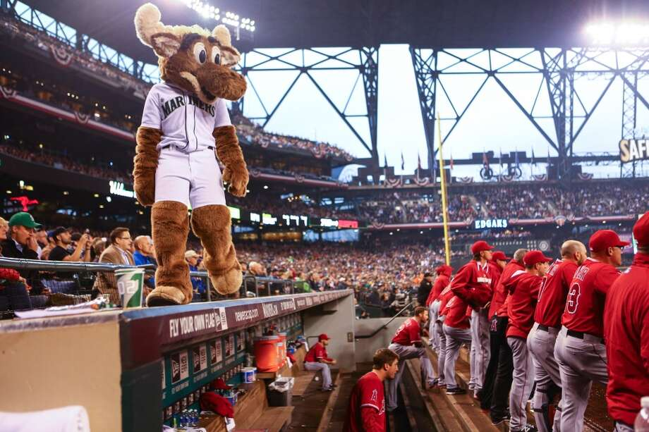 The Mariner Moose looks over the competition during the Seattle Mariners home opener on Tuesday, April 8, 2014 at Safeco Field. The Mariners defeated the Los Angeles Angels 5-3. (Joshua Trujillo, seattlepi.com) Photo: JOSHUA TRUJILLO, SEATTLEPI.COM