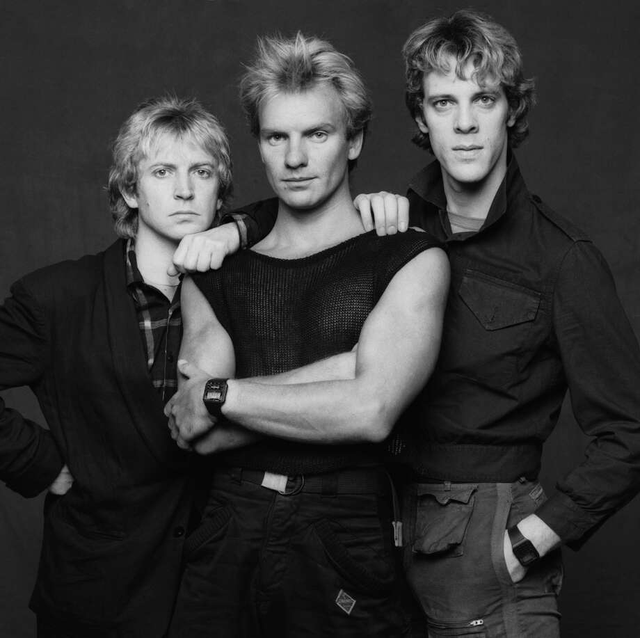 """The Police: (L-r, Andy Summers, Sting and Stewart Copeland). Drummer Stewart Copeland and Sting say now that the parting of the Police was amicable, but at the time, not so much. As Sting became a big solo star, creative tensions rose between the singer and Copeland, with Sting's decisions being mostly final. The pair reportedly got into many a verbal altercation, as well as some physical. Sting broke up the band in 1984. They reunited for a tour in 2007, with Copeland penning a long diatribe in which he called Sting a """"petulant pansy"""" after the first show. Photo: Terry O'Neill, Getty Images"""