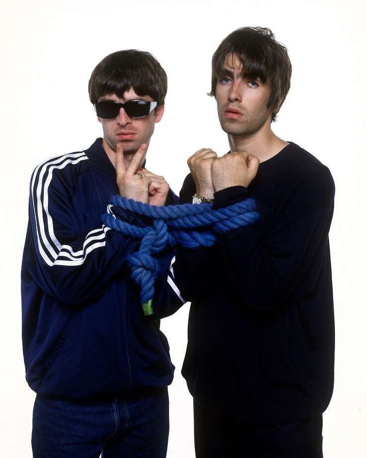 "The Gallagher brothers, Liam and Noel, of the band Oasis. Noel recently said the band blew a chance to be on the soundtrack of the movie ""Trainspotting"" because they thought it was about trains, according to the film's costume designer. Photo: Barry Marsden  Photo: Barry Marsden"