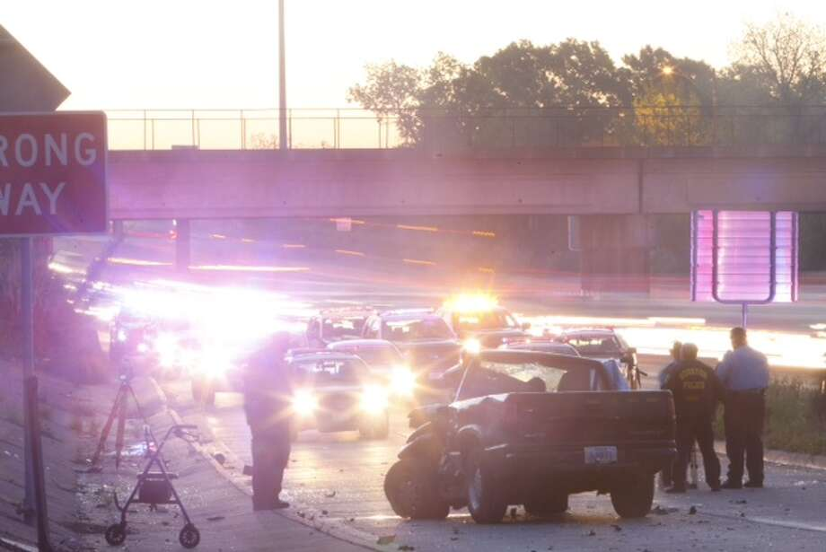 At least one person is reported dead in a crash about 5 a.m. Wednesday on the inbound East Freeway near Lockwood, according to the Houston Police Department. Photo: Cody Duty / Houston Chronicle