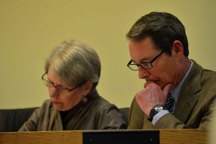 Board of Finance members Gwen Mogensen and Bruce Orr shared their opinions of the budget at  the Tuesday, April 8 finance meeting. Photo: Megan Spicer / Darien News