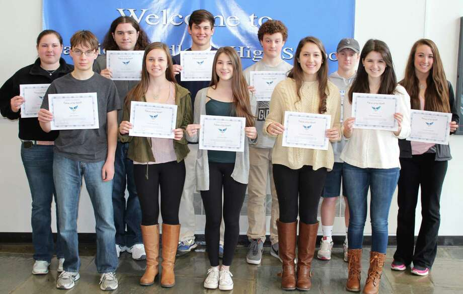 FALCONS OF THE MONTH Thirteen Fairfield Ludlowe High School students have been cited as Falcons of the Month for March. During that month, the school said, the students pursued different interests and explored new ideas to find their niches. Displaying their citations are, from left, Brenna Martini, Jake Haney, Alex DíAmbrosio, Carlee Pickering, Cole Carnemark, Heidi Grascher, Calder McCay, Alexandra Amicone, John Miller, Emma Greenwood and Caroline Pangallo. Nick Santandrea and Katherine Cardenas also were cited but were absent when the photo was taken. Photo: Fairfield Citizen/Contributed / Fairfield Citizen