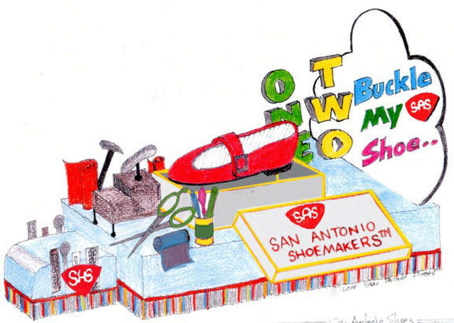 San Antonio Shoemakers will top its debut Battle of Flowers Parade float with a size 68 red Mary Jane. Photo: Courtesy Rendering / San Antonio Express-News