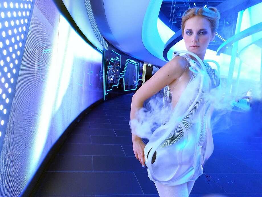 "Dutch artist Anouk Wipprecht's ""smoke dress"" emits a veil of smoke when someone approaches. Photo: Courtesy Of Anouk Wipprecht"