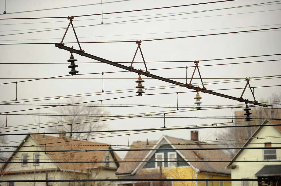 The old catenary system, the overhead lines which provide power to the trains, at the Metro North rail yard in Bridgeport, Conn. on Tuesday, April 8, 2014. Photo: Brian A. Pounds / Connecticut Post