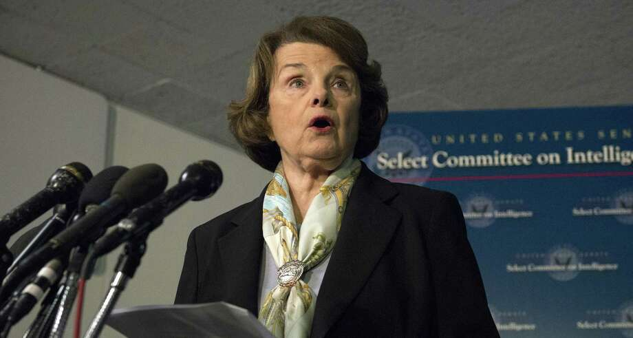 Senate Intelligence Committee Chairwoman Sen. Dianne Feinstein, D-Calif. speaks after a closed-door meeting last week as the panel voted to approve declassifying part of a secret report on Bush-era interrogations of terrorism suspects. Photo: Associated Press / FR170882 AP