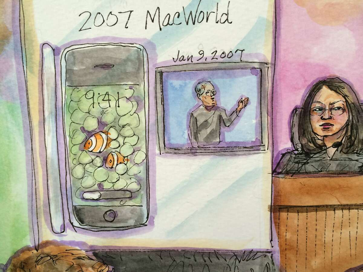 U.S. District Judge Lucy Koh is shown in this courtroom sketch during Apple Inc vs Samsung Electronics Co Ltd case in U.S. District Court, Northern District of California in San Jose, California, April 1, 2014. An Apple Inc attorney said the iPhone contains more than 200 inventions and the company deserves legal protection against Samsung, as the rivals returned to court on Tuesday for opening statements in their long-running patent battle. REUTERS/Vicki Behringer (UNITED STATES - Tags: CRIME LAW SCIENCE TECHNOLOGY) FOR EDITORIAL USE ONLY. NOT FOR SALE FOR MARKETING OR ADVERTISING CAMPAIGNS