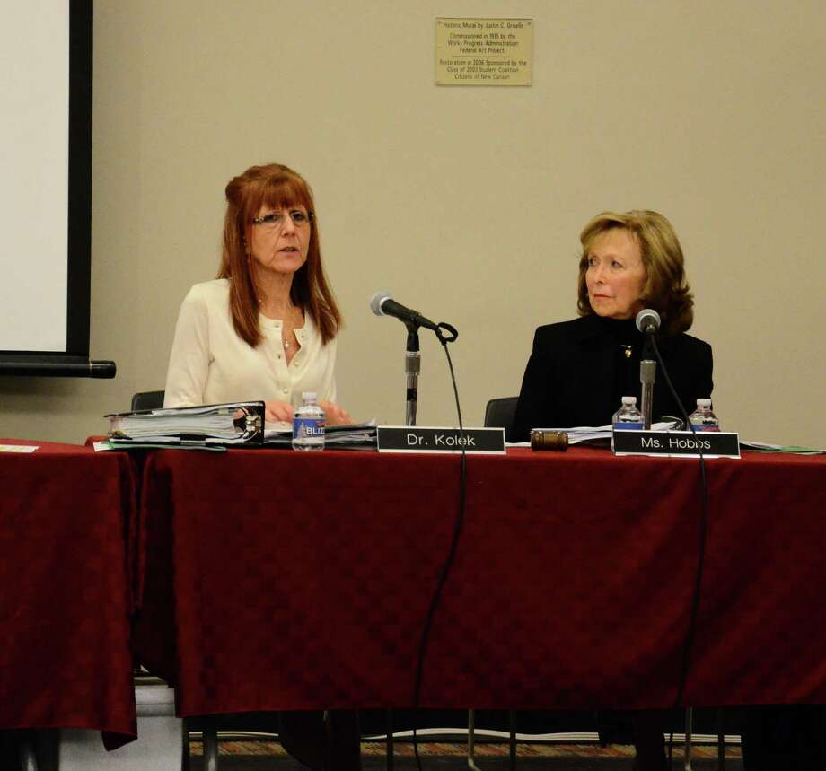 Superintendent of Schools Mary Kolek and Board of Education Chairman Hazel Hobbs discuss the regional uniform calendar at a meeting Monday, April 7, at the New Canaan High School. Photo: Nelson Oliveira / New Canaan News