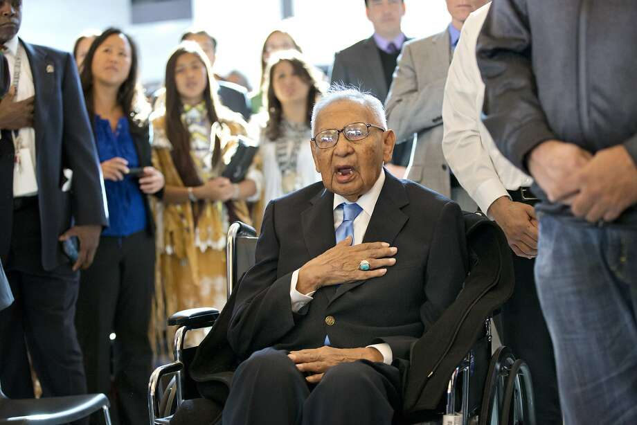 Edmond Harjo, 96, of the Seminole Nation of Oklahoma, one of the last living code talkers, at a Congressional Gold Medal ceremony in Washington. Photo: J. Scott Applewhite, Associated Press