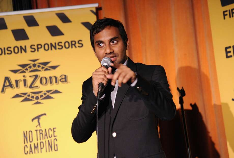 Comedian Aziz Ansari speaks onstage at  Hilarity for Charity NYC Cocktail Party at The Jane Hotel on April 8, 2014 in New York City. Photo: Ilya S. Savenok, Getty Images For Hilarity For Ch