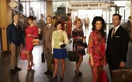 "John Slattery, Christina Hendricks, Vincent Kartheiser, Elisabeth Moss, January Jones, Jessica Pare, and Jon Hamm star in, ""Mad Men,"" on AMC."