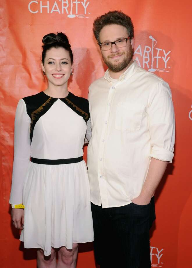 Actors Seth Rogen (R) and Lauren Miller attend Hilarity for Charity NYC Cocktail Party at The Jane Hotel on April 8, 2014 in New York City. Photo: Ilya S. Savenok, Getty Images For Hilarity For Ch