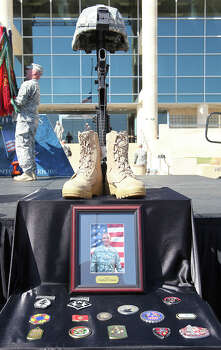 Photo of the Fallen Soldier Memorial for Sgt. Timothy Wayne Owens after the III Corps and Fort Hood Memorial Ceremony, Wednesday, April 9, 2014.  Owens along with Sgt. First Class Daniel Michael Ferguson and Staff Sgt. Carlos Alberto Lazaney-Rodriguez were killed and 16 others wounded when Spec. Ivan Lopez opened fire the April 2 attack at the installation. Lopez committed suicide after the attack. Photo: Jerry Lara, San Antonio Express-News / ©2014 San Antonio Express-News