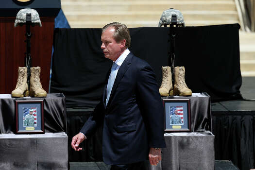 Texas Lt. Governor David Dewhurst arrives for the III Corps and Fort Hood Memorial Ceremony, Wednesday, April 9, 2014. Sgt. First Class Daniel Michael Ferguson, Staff Sgt. Carlos Alberto Lazaney-Rodriguez and Sgt. Timothy Wayne Owens were killed and 16 others wounded when Spec. Ivan Lopez opened fire the April 2 attack at the installation. Lopez committed suicide after the attack. Photo: Jerry Lara, San Antonio Express-News / ©2014 San Antonio Express-News