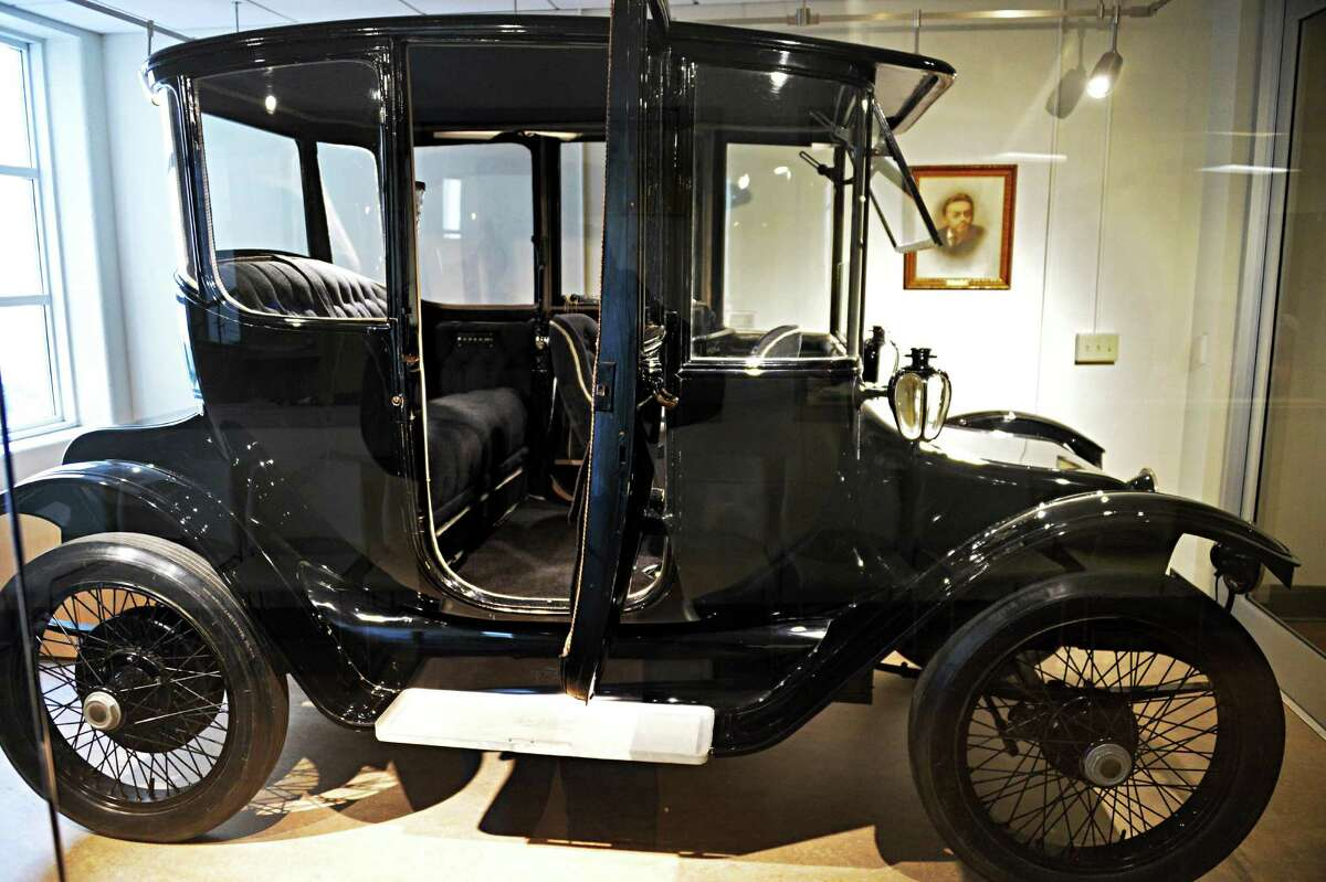 The 1914 Duplex Drive Brougham Detroit Electric automobile that belonged to Charles Steinmetz now on permanent display at Union College Wednesday, April 9, 2014, in Schenectady, NY. (John Carl D'Annibale / Times Union)