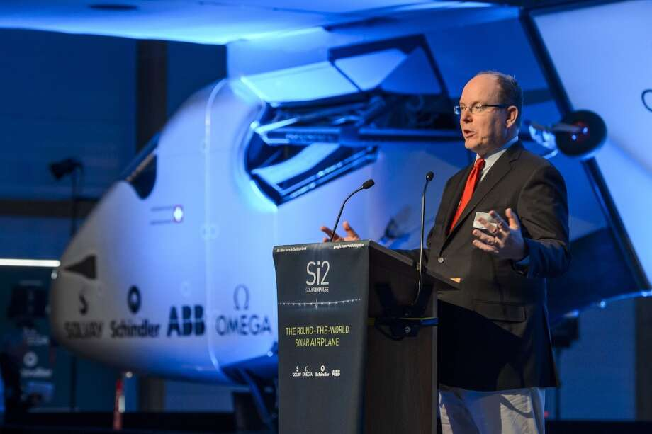 Prince Albert II of Monaco delivers a speech during the unveiling by Swiss pilots Bertrand Piccard and Andre Borschberg of the second Solar Impulse solar-powered plane, the HB-SIB, which they aim to take on a round-the-world voyage next year.   AFP PHOTO / FABRICE COFFRINIFABRICE COFFRINI/AFP/Getty Images Photo: FABRICE COFFRINI, AFP/Getty Images
