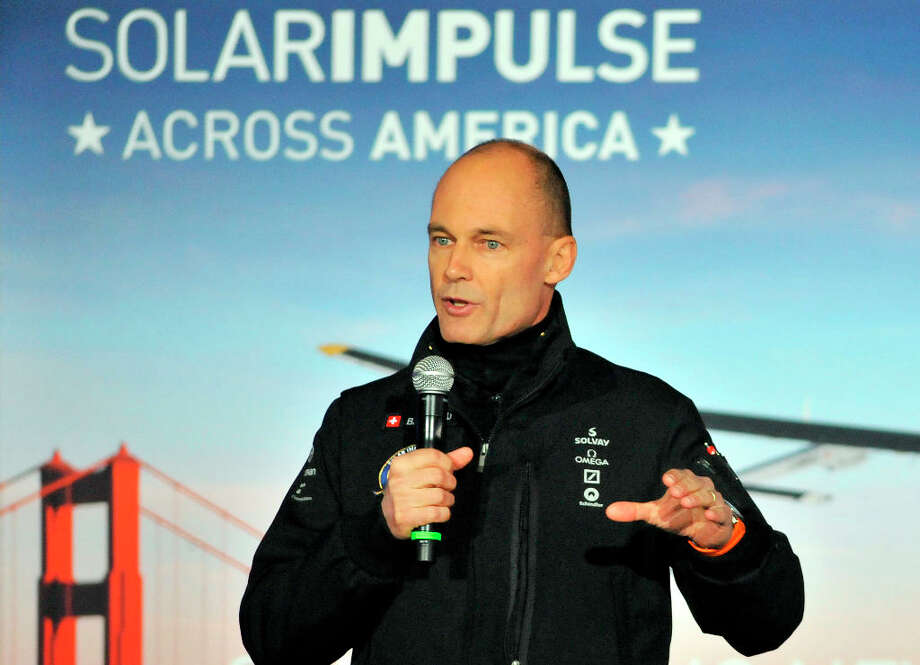 Solar Impulse founder and pilot Bertrand Piccard addresses a press conference at the NASA Ames Research Center in Mountain View, California on Thursday, March 28, 2013. The Solar Impulse project aims to fly an aircraft around the world using only solar energy. Photo: JOSH EDELSON, AFP/Getty Images / AFP
