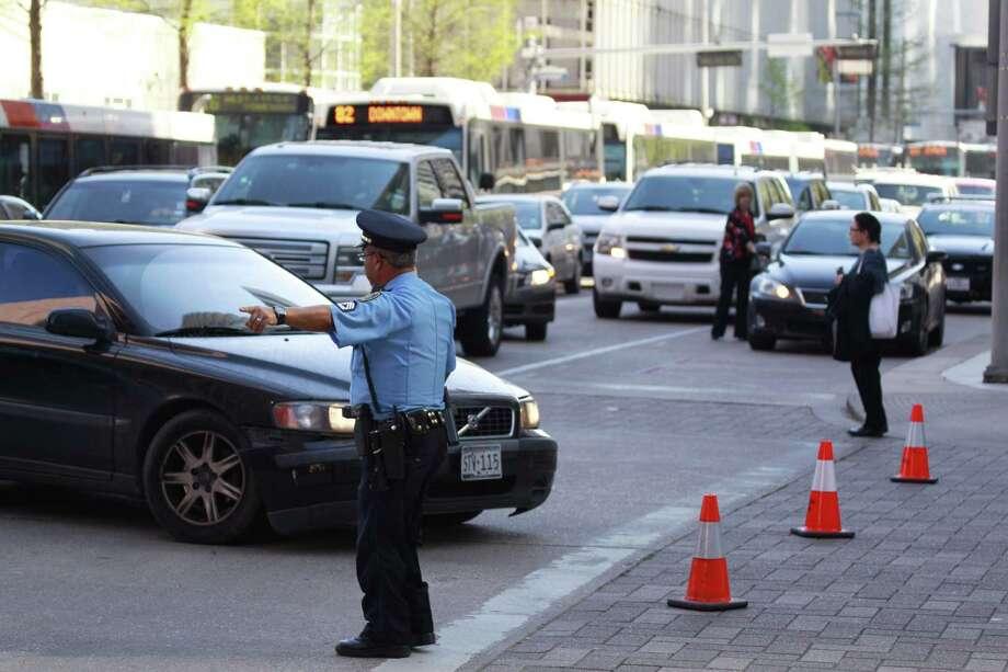 The traffic headache along Louisiana at Bell. Photo: Melissa Phillip