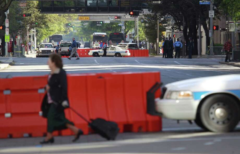 Smith Street is shown closed near the Crown Plaza Hotel during the Obamas' visit. Photo: Melissa Phillip