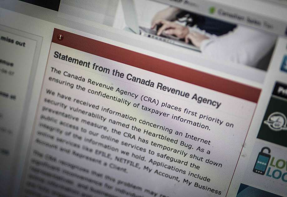 The Canada Revenue Agency has a statement about its response to the Heartbleed security glitch on its website. The agency shut down access to online tax services Wednesday. Photo: Mark Blinch, Reuters