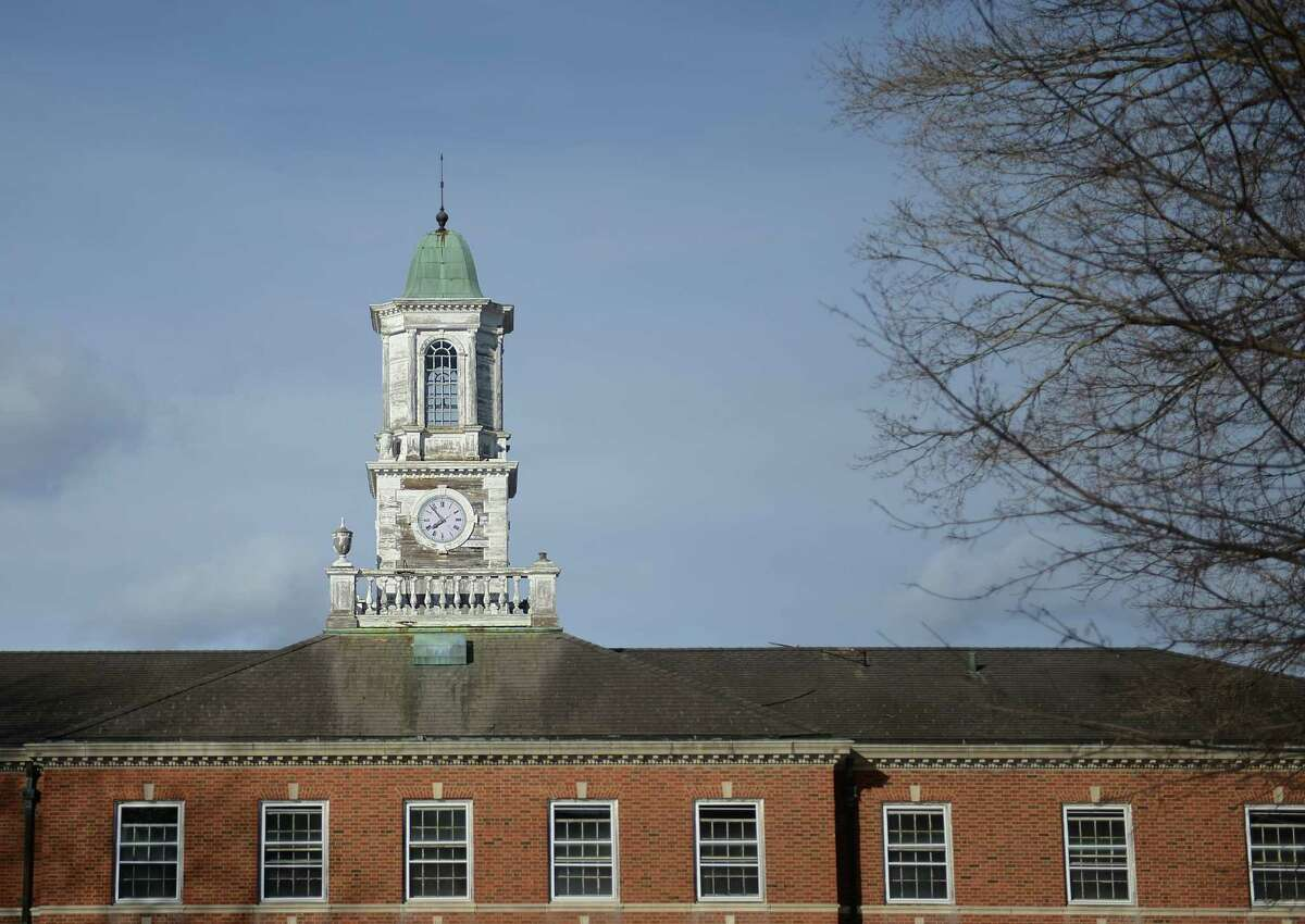 A clock tower sits atop one of the buildings on the Fairfield Hills campus in Newtown.