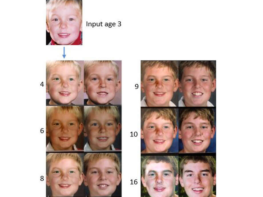 "The top ""input"" photo is the face before it was aged. The photo pairs below the arrow show the face at different ages, represented by the number to the left of each pair.The left photo of each pair is a software-aged photo. The right one is a real-life photo. Photo: ""Illumination-Aware Age Progression,"" University Of Washington"