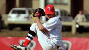 Fairfield Prep pitcher Kevin Stone, during opening day baseball action against Amity at Fairfield University in Fairfield, Conn. on Wednesday April 9, 2014.