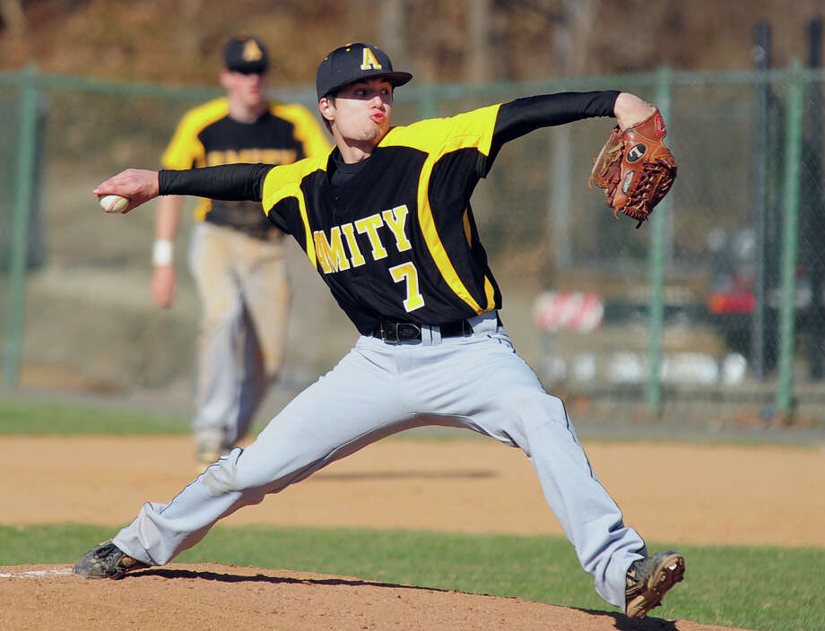 Amity pitcher Nicholas Fusco, during opening day baseball action against Fairfield Prep at Fairfield University in Fairfield, Conn. on Wednesday April 9, 2014. Photo: Christian Abraham / Connecticut Post