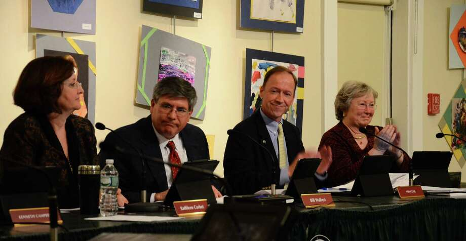 Town Council members Kathleen Corbet, Bill Walbert, Steve Karl and Penny Young at a meeting Wednesday, April 9, 2014, at the Nature Center in New Canaan, Conn. The council approved a $138.3 million budget for the 2014-15 fiscal year. Photo: Nelson Oliveira / New Canaan News