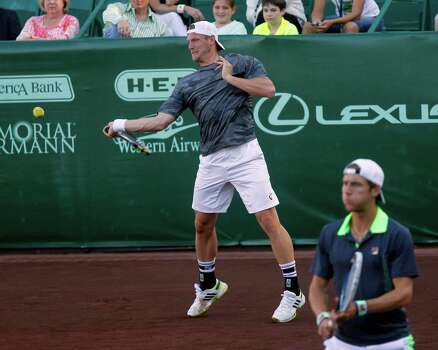 Samuel Groth and Matthew Ebden during a match against  Bob Bryan and  Mike Bryan Wednesday, April 9, 2014 at the River Oaks Country Club. (Bob Levey/Special To The Chronicle) Photo: Bob Levey, Houston Chronicle / ©2014 Bob Levey