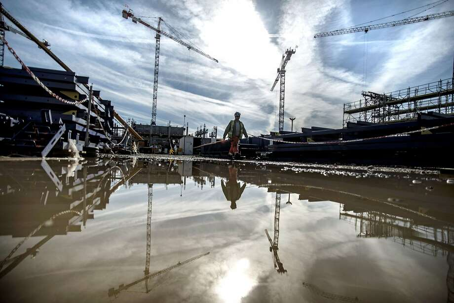 TOPSHOTS A picture taken on April 9, 2014 in Decines, shows the construction site of Lyon's new football stadium. AFP PHOTO / JEFF PACHOUDJEFF PACHOUD/AFP/Getty Images Photo: Jeff Pachoud, AFP/Getty Images