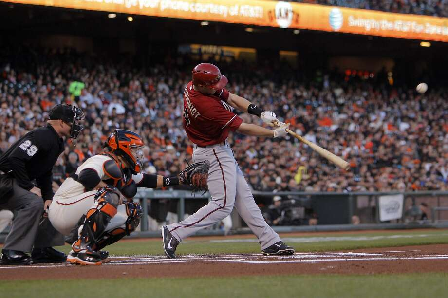 Paul Goldschmidt homers off Tim Lincecum in the first inning for a 3-0 lead, continuing his domination of the Giants' starter. Photo: Carlos Avila Gonzalez, The Chronicle