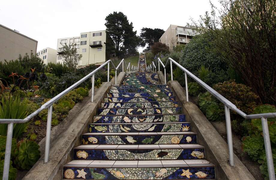 More then 300 Golden Gate Heights neighbors put together a mosaic to create the 16th Avenue Tiled Steps Project (also known as the Moraga Steps on Google Maps). Google map Photo: Siana Hristova, The Chronicle