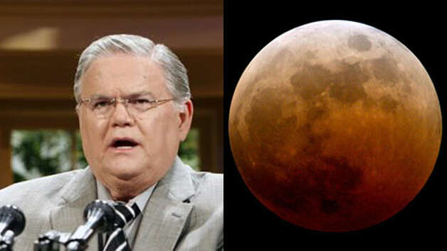 """Padtor John Hagee, who also is pushing sales of his book, predicts that a  """"world-shaking event"""" would occur within the next year. Hagee, founder  of Cornerstone Church in San Antonio said last week that the four total  eclipses, also known as blood moons for the red color, indicate that a  history-changing event soon will occur."""