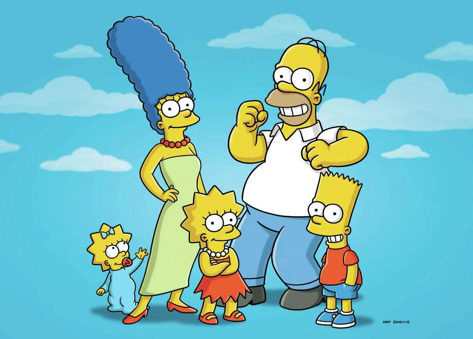 "FILE - In this undated publicity photo released by Fox shows characters from the animated series, ""The Simpsons,"" from left, Maggie, Marge, Lisa, Homer and Bart. The FXX network plans a marathon telecast this summer of episodes of ""The Simpsons"" _ all 552 of them consecutively. The network said Wednesday, April 9, 2014, that the marathon starts on Aug. 21 and will continue into Labor Day. FXX programming chief Chuck Saftler said it coincides with the network's purchase of rerun rights and the development of an app that gives access to every episode of the long-running animated series. (AP Photo/Fox, File) Photo: Anonymous, HONS / Fox"