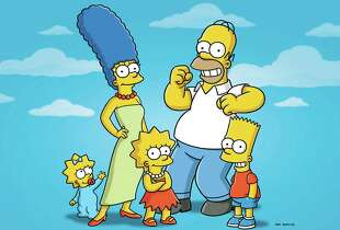 "FILE - In this undated publicity photo released by Fox shows characters from the animated series, ""The Simpsons,"" from left, Maggie, Marge, Lisa, Homer and Bart. The FXX network plans a marathon telecast this summer of episodes of ""The Simpsons"" _ all 552 of them consecutively. The network said Wednesday, April 9, 2014, that the marathon starts on Aug. 21 and will continue into Labor Day. FXX programming chief Chuck Saftler said it coincides with the network's purchase of rerun rights and the development of an app that gives access to every episode of the long-running animated series. (AP Photo/Fox, File)"