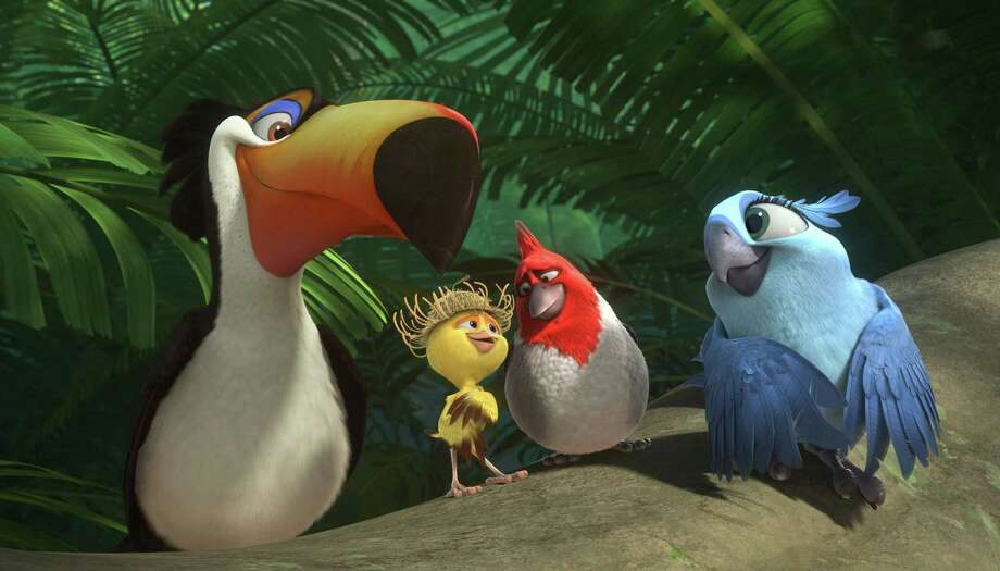 """Rafael, from left, voiced by George Lopez, Nico, voiced by Jamie Foxx, Pedro, voiced by will.i.am, and Carla, voiced by Rachel Crow, are the stars of """"Rio 2."""" Photo: Blue Sky Studios, HOEP / 20th Century Fox"""