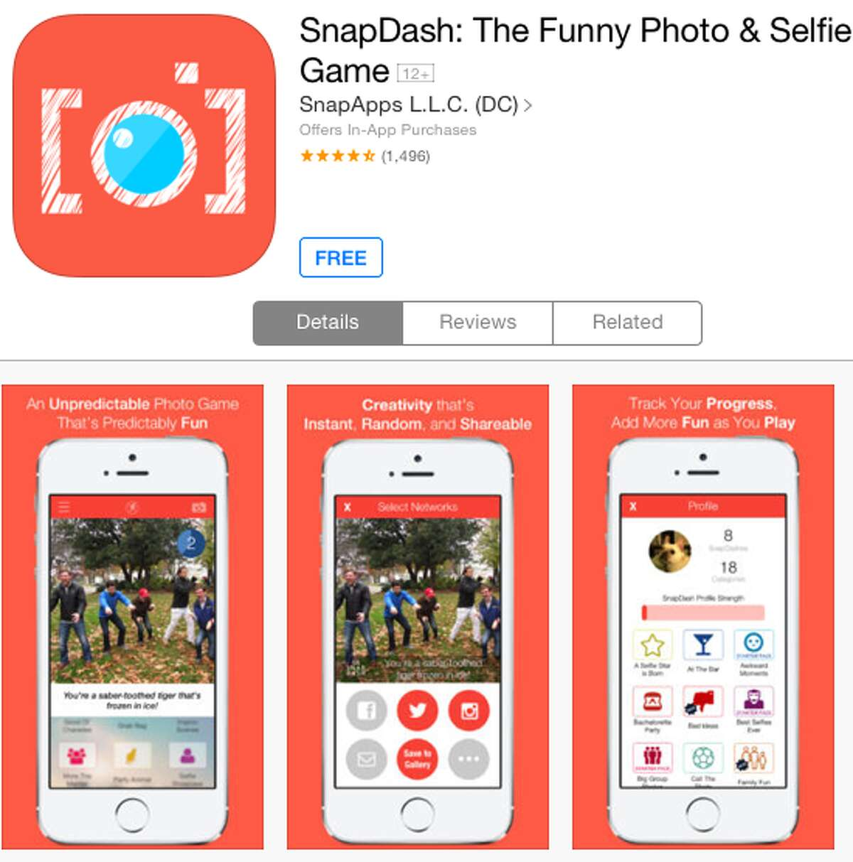 Want a cool photo of yourself but not exactly sure what you should be doing in the photo? SnapDash suggests a whacky pose to its users just seconds before the photo is taken to see how quickly selfie subjects can respond. The results are often hilarious.
