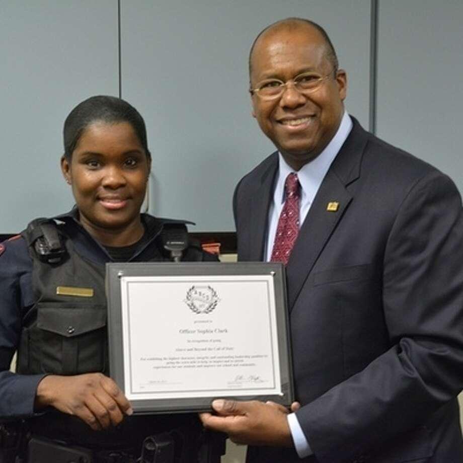 Corporal Sophia Clark with Katy ISD superintendent Alton Frailey