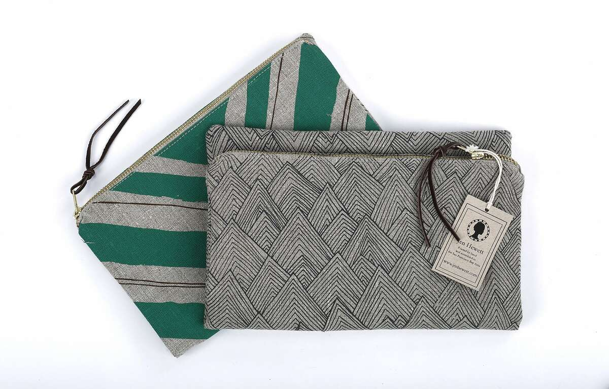 Jen Hewett's hand-printed fabric pouches ($42) are made in San Francisco and sold at Ferme a Papier on Russian Hill.