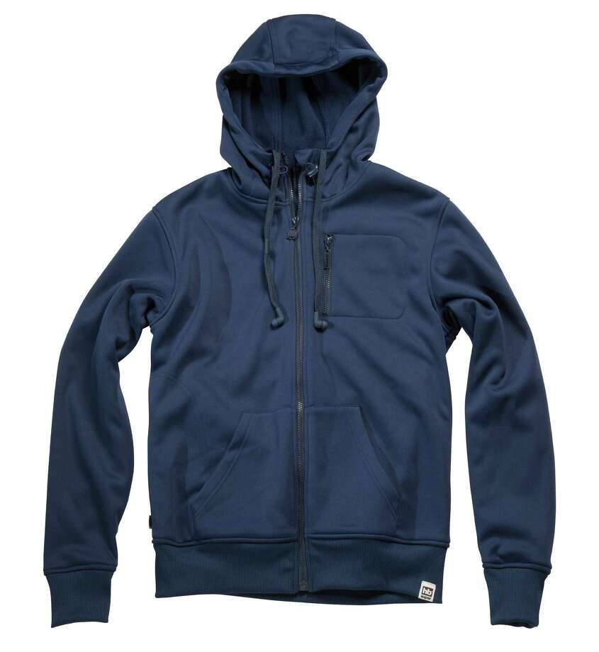 "The Hoodiebuddie ""Base"" sweatshirt has integrated headphones and microphone built into the drawstrings of the zip-up's hood. Photo: Hoodiebuddie / ONLINE_YES"