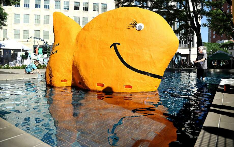 You have to be a little crackers to build a giant Pepperidge Farm Goldfish® and launch it in a fountain as if it were a toy sailboat. But that's exactly what Wayne Wood did at One Spark, the world's crowdfunding festival in Jacksonville, Fla. Photo: Bruce Lipsky, Associated Press