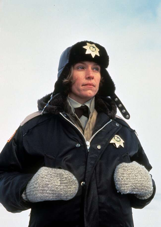 Frances McDormand bundled up in police uniform in a scene from the film 'Fargo', 1996. Photo: Archive Photos, Getty Images