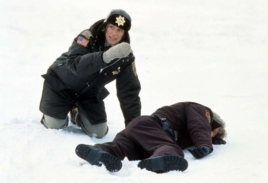 Frances McDormand next to murdered officer in the snow in a scene from the film 'Fargo', 1996. Photo: Archive Photos, Getty Images