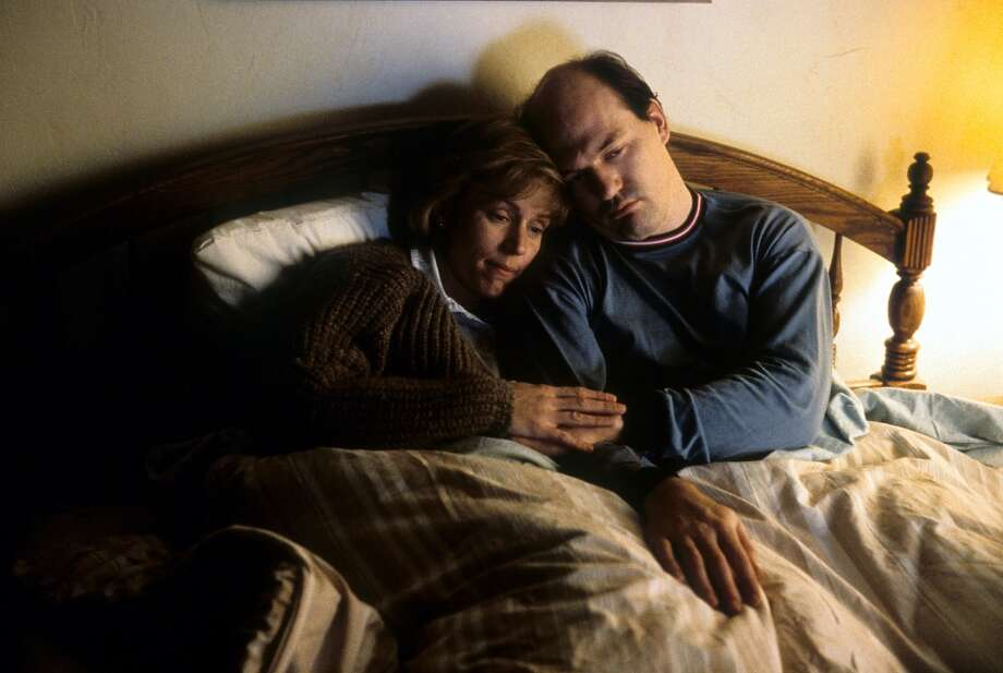 Frances McDormand cuddling with husband John Carroll Lynch in a scene from the film 'Fargo', 1996. Photo: Archive Photos, Getty Images