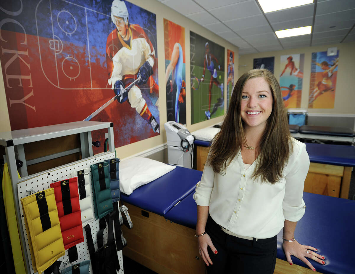"""Physical therapist Alyson O""""Connell, DPT, at the newly opened Select Physical Therapy at 2 Ivy Brook Road in Shelton, Conn. on Thursday, April 10, 2014."""