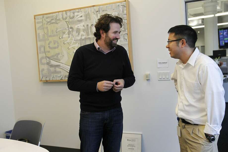 Zendesk CEO Mikkel Svane (left) and employee Eric Lin chat in the company's San Francisco offices in February. Photo: Leah Millis, The Chronicle